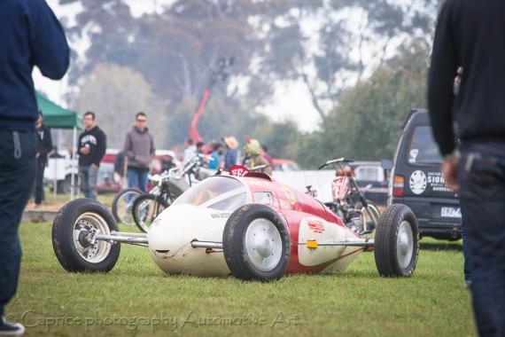 A bellytank racer on show