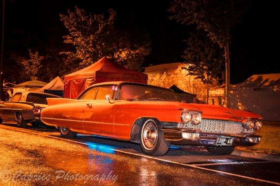 1959 Cadillac glowing after dark!