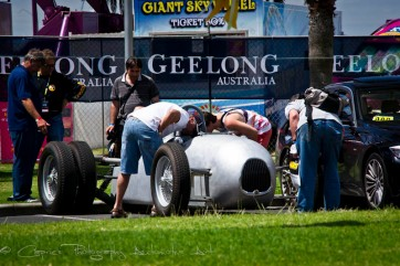Enthusiasts getting into the detail at the Geelong Speed Trials