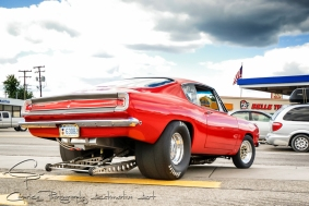 Yep, no legal requirements or restrictions for this super cruise allowing even some of the wildest street registered rides to grunt their way up and down the main route as this Barracuda is testament to.