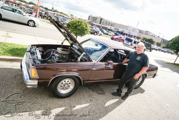 Canadian, George Krieger of Krieger Motorsports stands proud next to his ex-drag car now turned street car and has owned it for