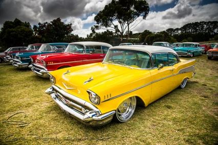 yellow chevys, 57 chevys