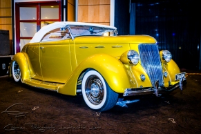 yellow hot rod, 35 ford rod