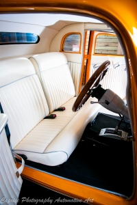 White leather interior with complimenting silver piping