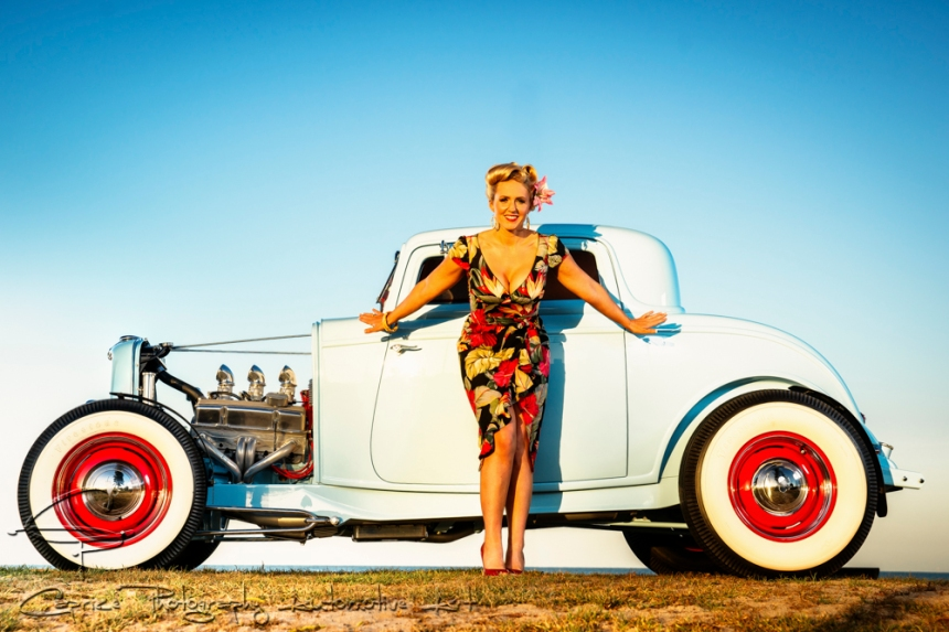 Miss Sandra Dee posing perfectly with Mario's coupe!