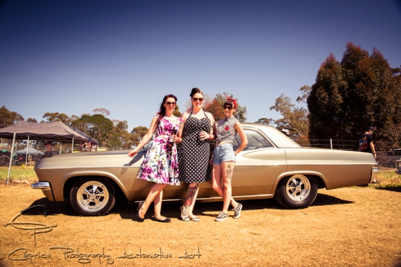 Lisa Cameron, Nicole Gore and Erin Caligari drove from Ballarat in Lisa's mildly custom 65 impala and has owned it for 6 years.
