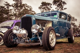 Nailed is modelled off early speedway cars which SA owner, Tony Jenkins has been dreaming of for 50 years! Running a nailhead motor, T400 and Halibrand Champ change diff, this 32 2 door sedan with its 4 inch chop and nerf bars has nailed the theme!