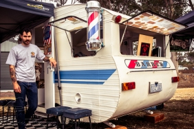 : Need a new do? You can't go past Mildura based Sammy Pileggi's homebuilt Barber Shop van!
