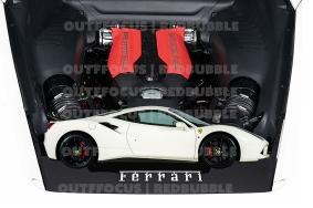 Ferrari 488 white engine comp