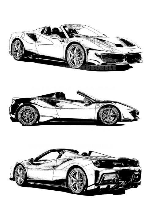 Ferrari Pista Spider X3 drawn