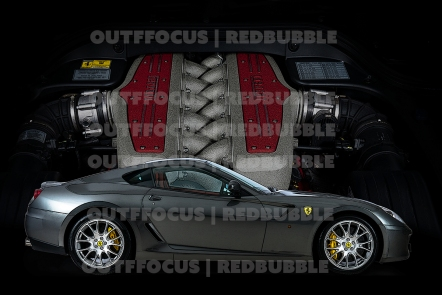 Ferrari Portofino 599 GTB with engine