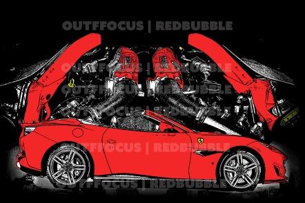 Ferrari Portofino drawn with engine