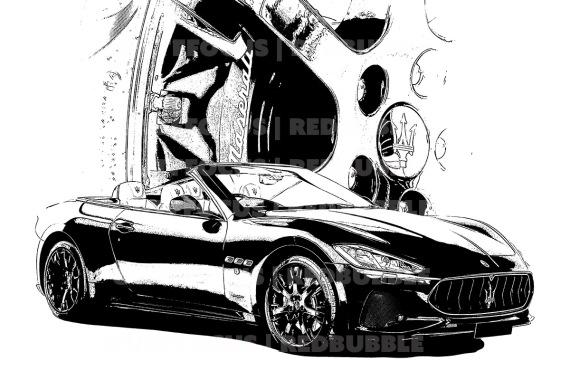 Maserati red wheel comp front 3 quarter black drawn